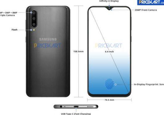 Samsung Galaxy A50 в утечке. Есть спецификация и рендер
